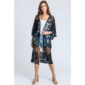 Sweaters - Long Lace Kimono Cardigan in Black New